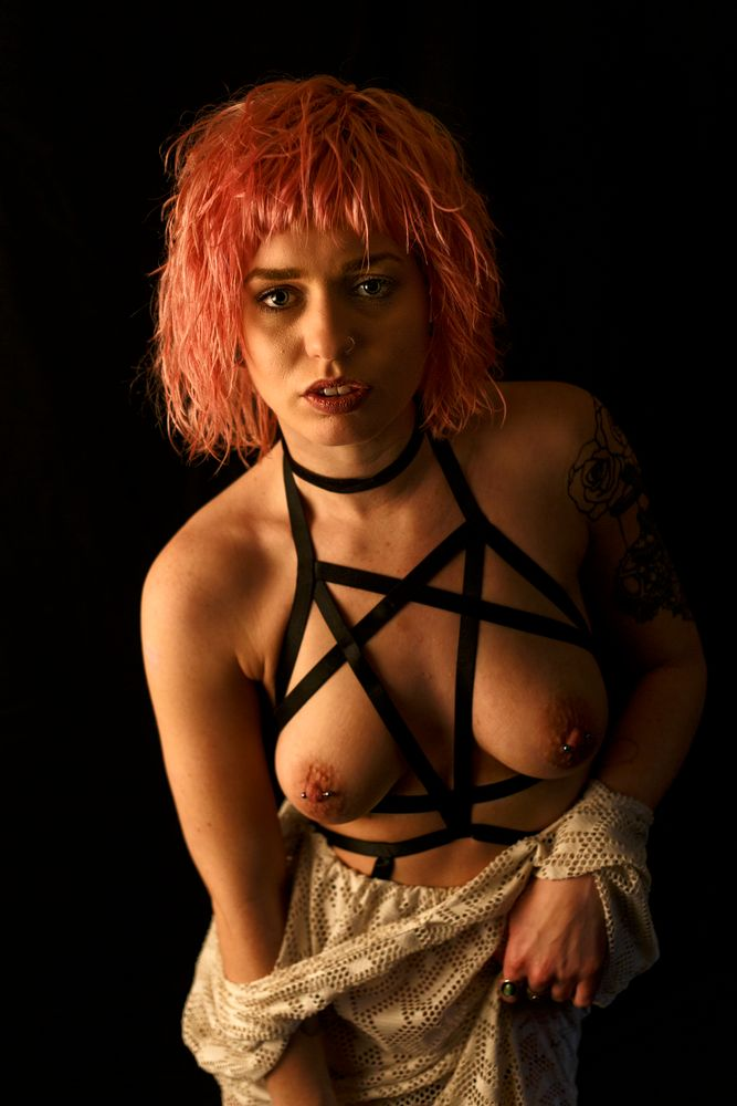 Photo in Nude #alternative model #straps #pierced #alt model #model #topless #nude #pink hair