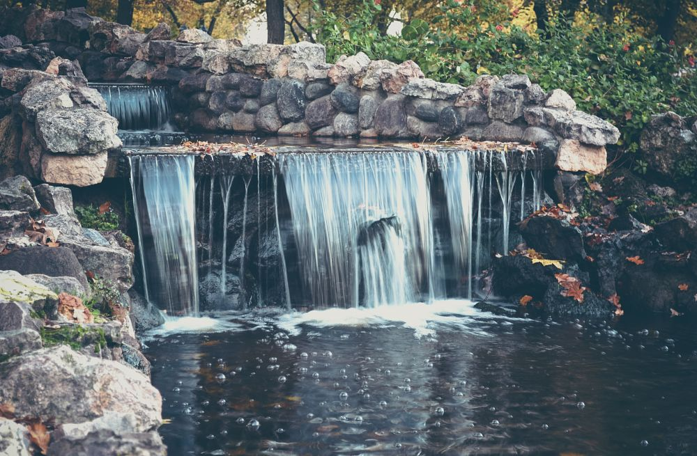 Photo in Nature #water #waterfall #nature #bubbles #day #shutter speed #stone #autumn #leaf