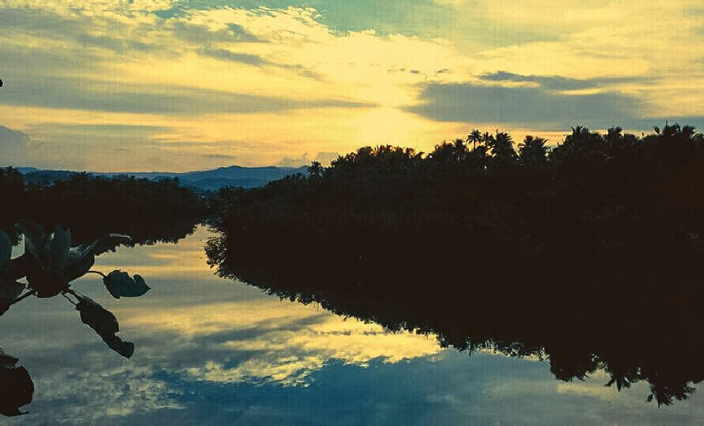 Photo in Landscape #sunset #loom #river #borongan #city #eastern #samar #philippines #reflections