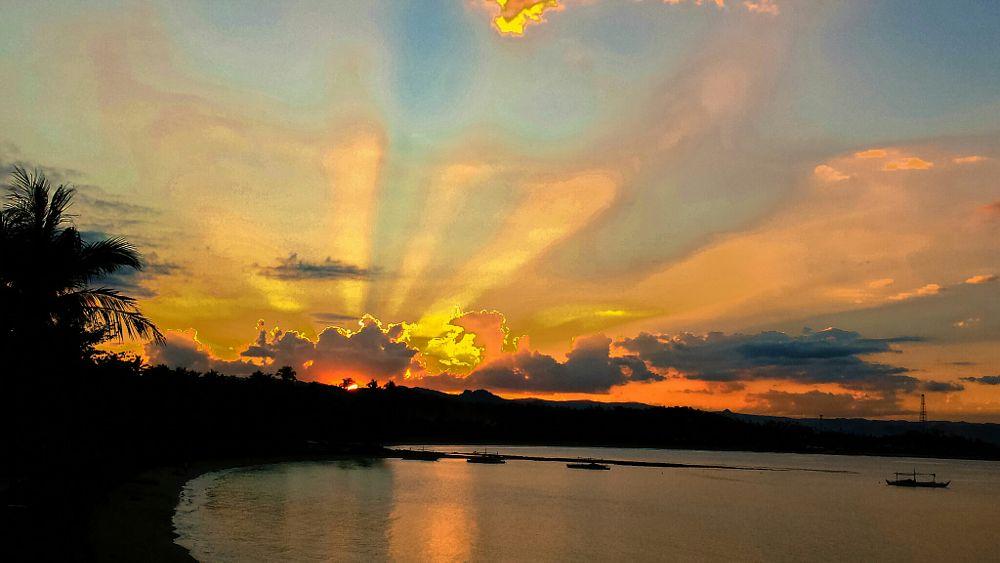 Photo in Landscape #clouds #sunburst #crepuscular #sunset #cabong #beach #borongan #city #eastern #samar #philippines