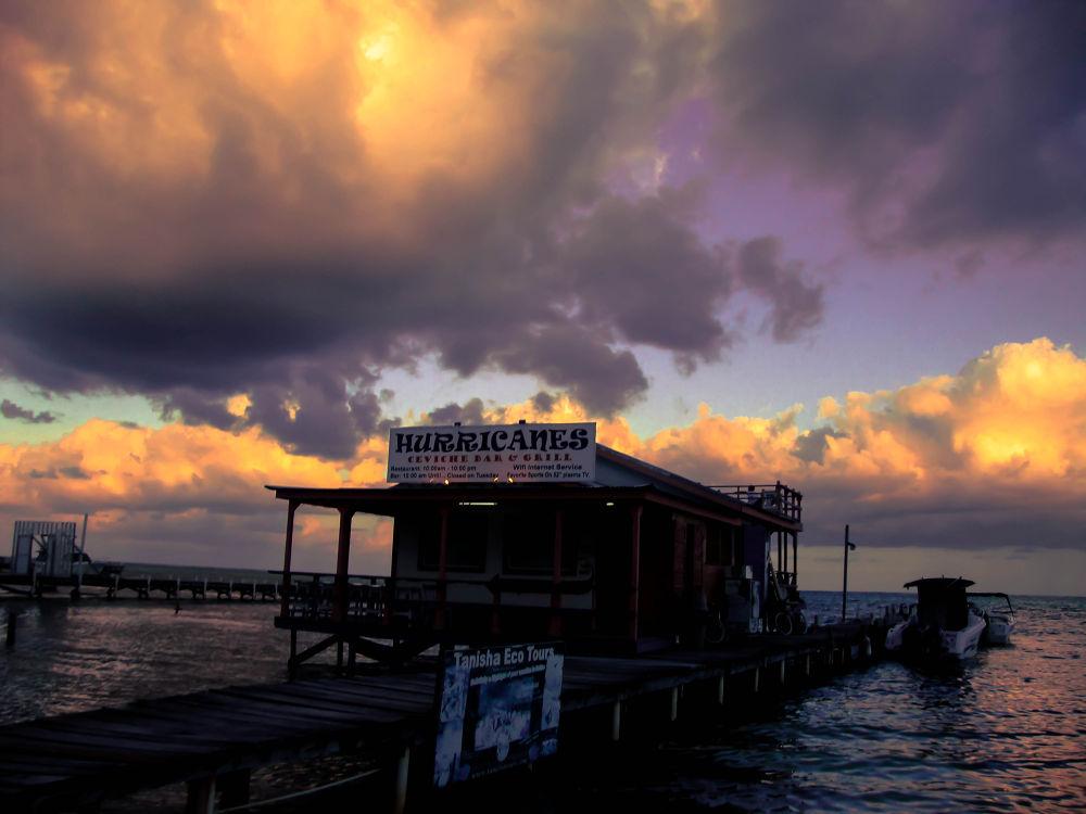 Photo in Random #sunset #san pedro #haaland #ambergris caye #ceviche bar #carrbibean