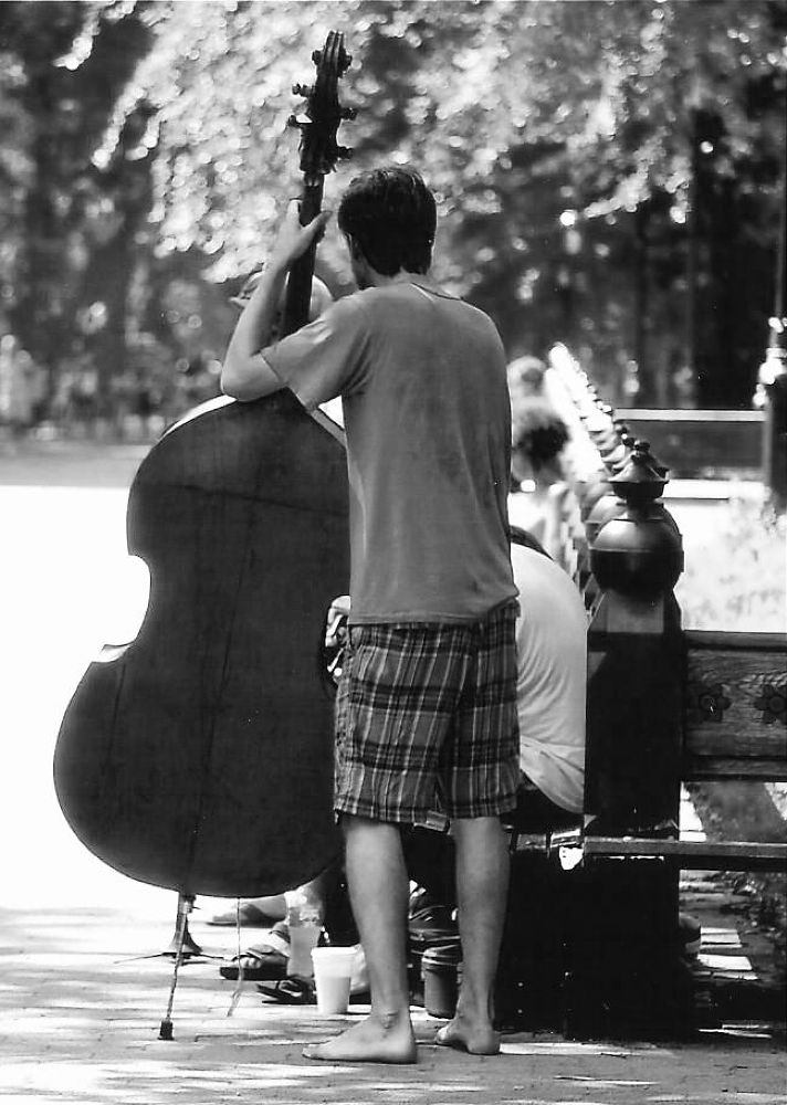 Photo in Black and White #music #black and white #central park #musician