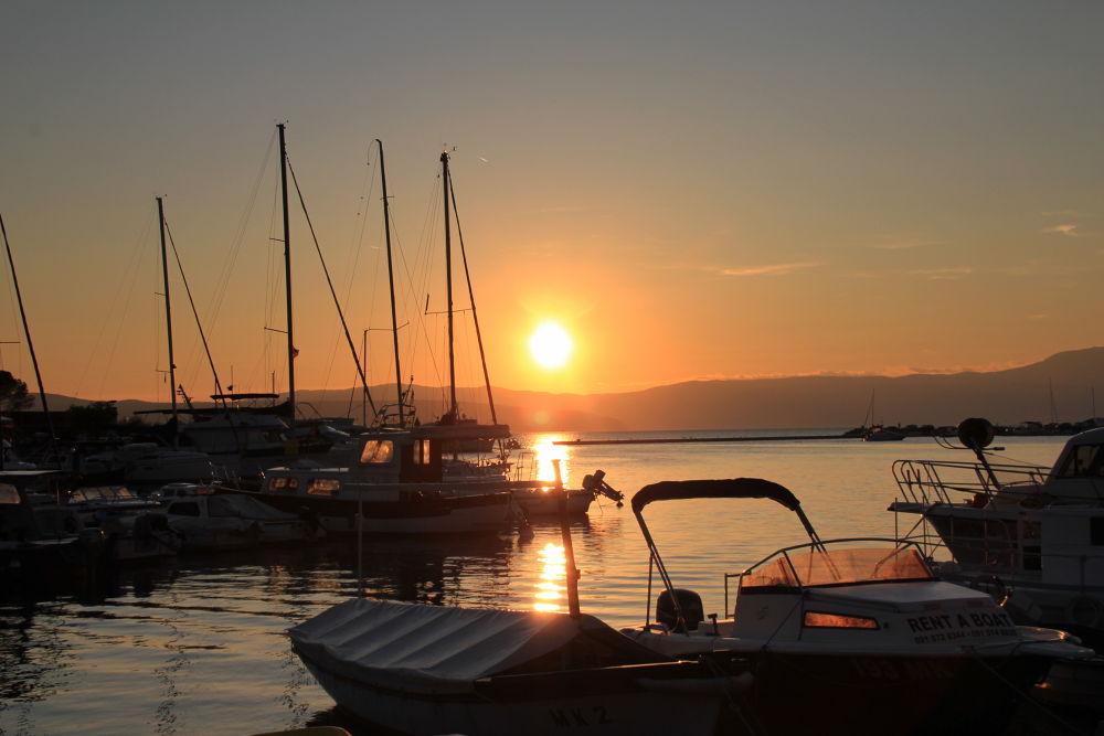 Photo in Random #ship #water #krk #croatia #sunset #sun #malinska #seaport