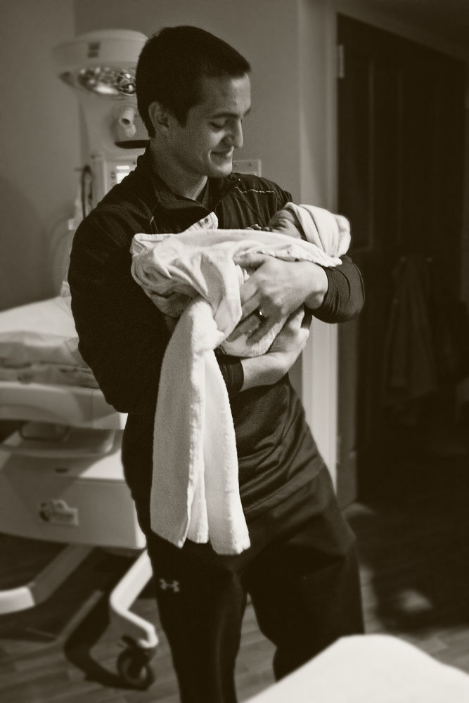 Photo in Black and White #black and white #hospital #newborn #baby #new #dad