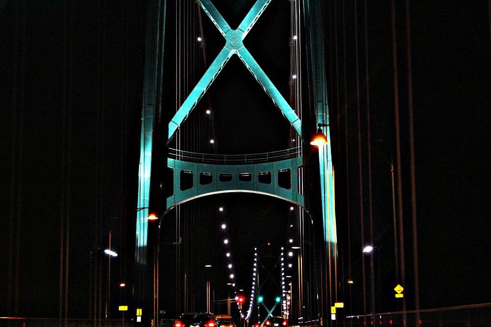 Photo in Architecture #night #lights #bridge #lion'sgatebridge