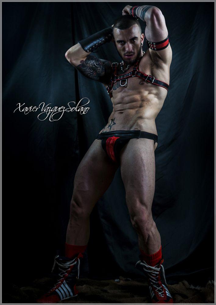 Photo in Fashion #muscle #leather #sexy #arnes #boots #jockstrap #tattoo #artist #model #studio #cannon #flash light