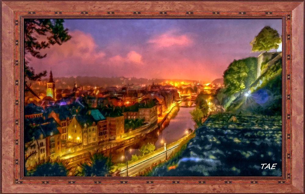 Photo in Random #art #oil #painting #view #castle #town #light #night #belgium #fortress #fine #lüttich #canvas #liege