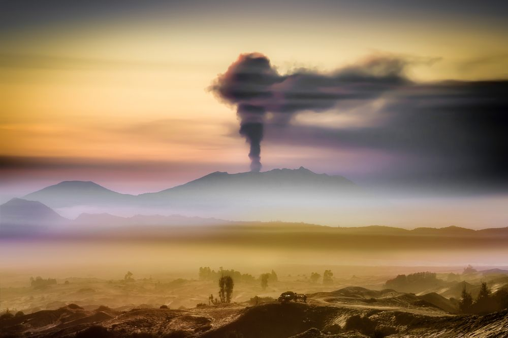 Photo in Random #volcano #caldera #mountain #java #indonesia #raung #active volcano #sand storm
