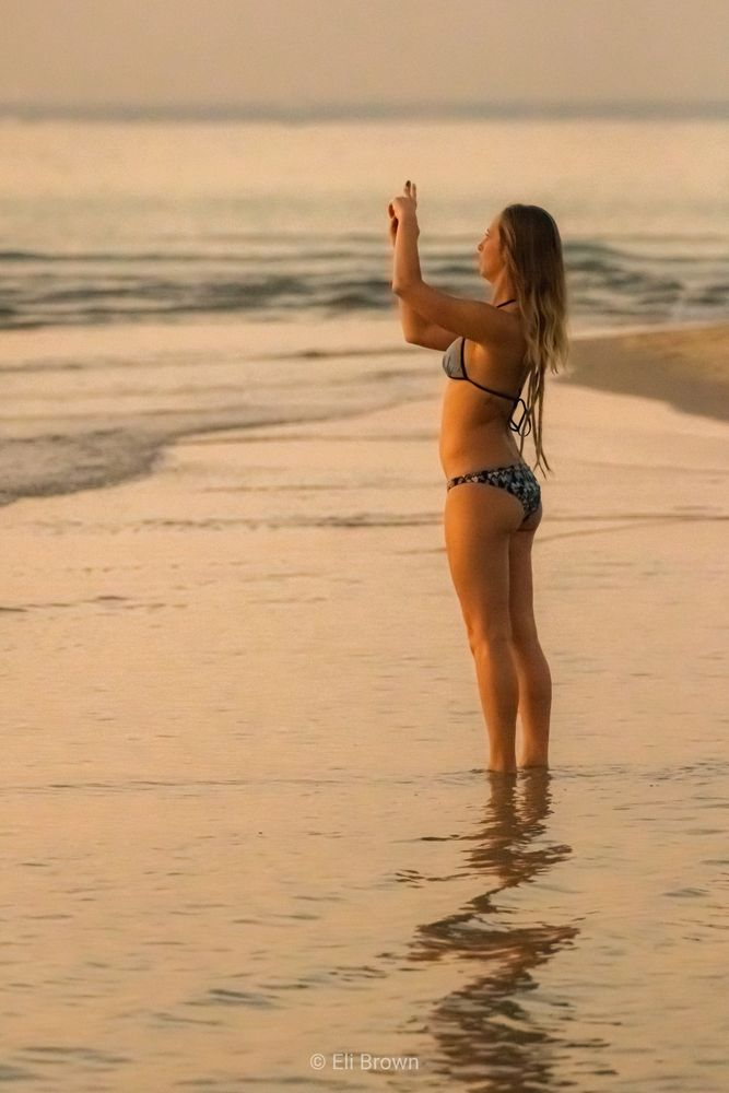 Photo in Sea and Sand #sea and sand #water #beach #sunset #beautiful woman #bkini #reflection #outdoors #nature