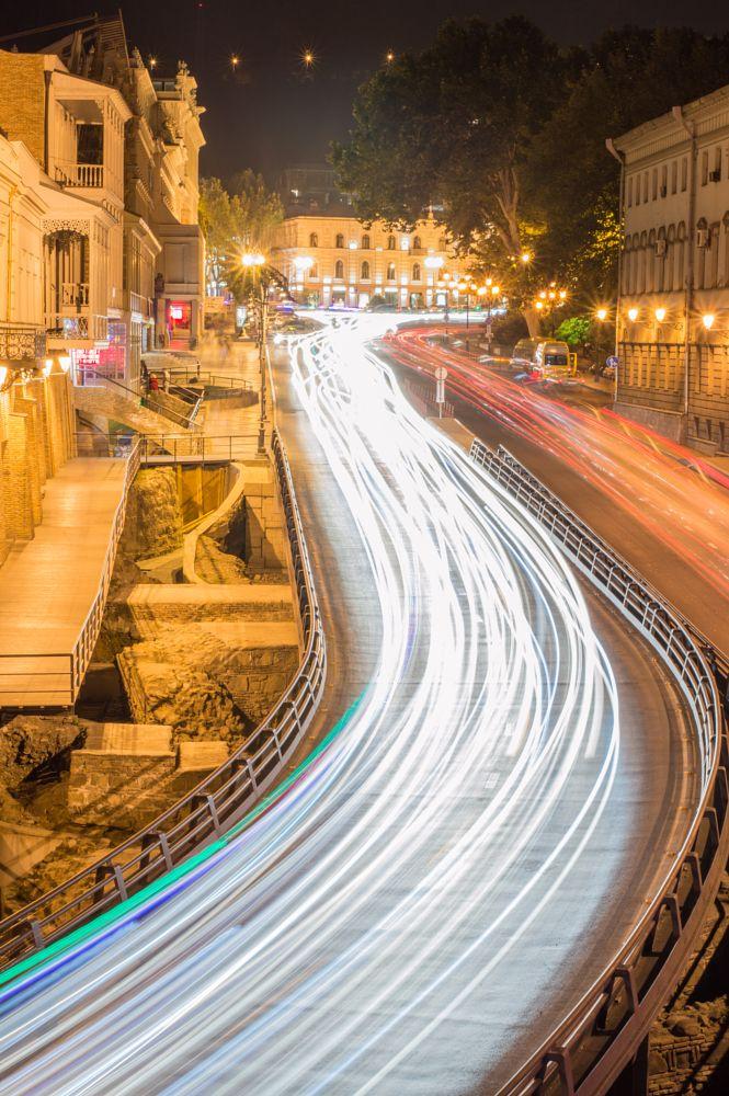 Photo in Urban #longexposure #light #lights #night #city #bridge #nightlife