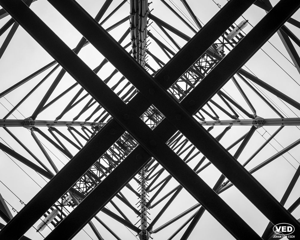 Photo in Industrial #tower #black and white #b&w #power #structure #electric #mast #electricity pylon #hydro tower #infrastructure #transmission #transmission tower