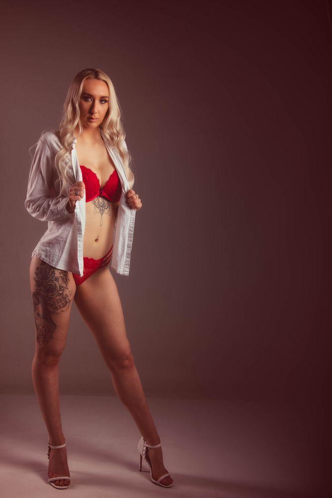 Photo in Portrait #beauty #blonde #bra #fashion #female #lingerie #long hair #model #portrait #shirt #studio #woman