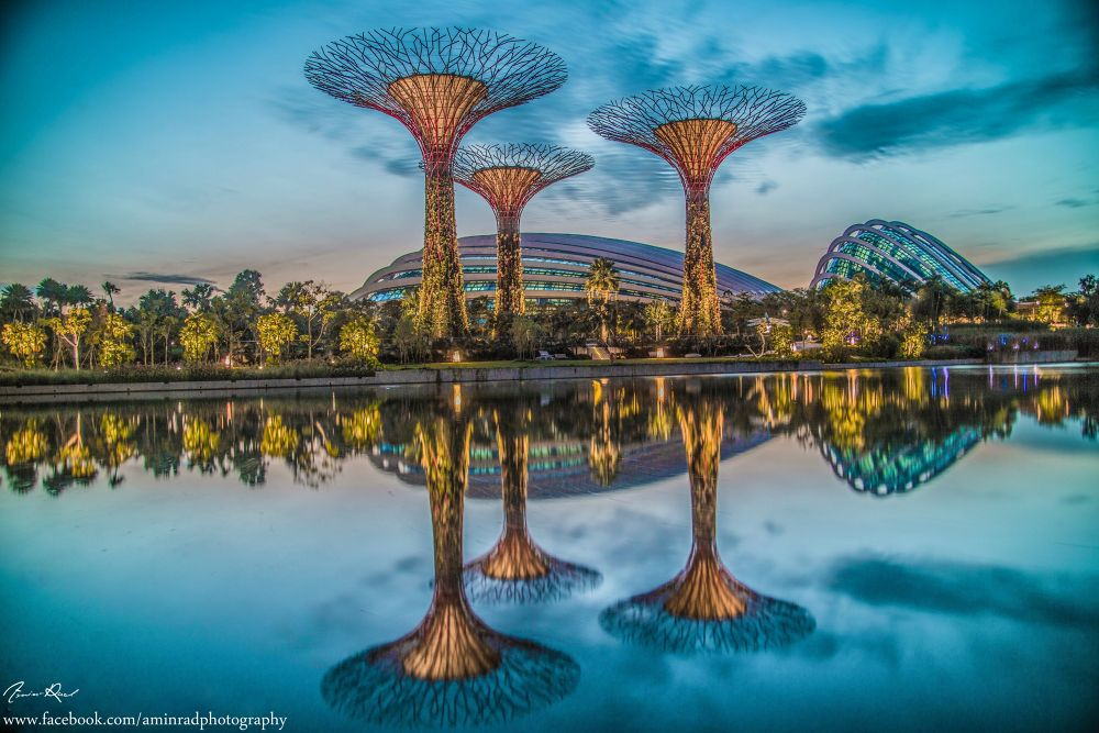 Photo in Landscape #singapore #morning #blue #sky #magical #photography #photo #reflection