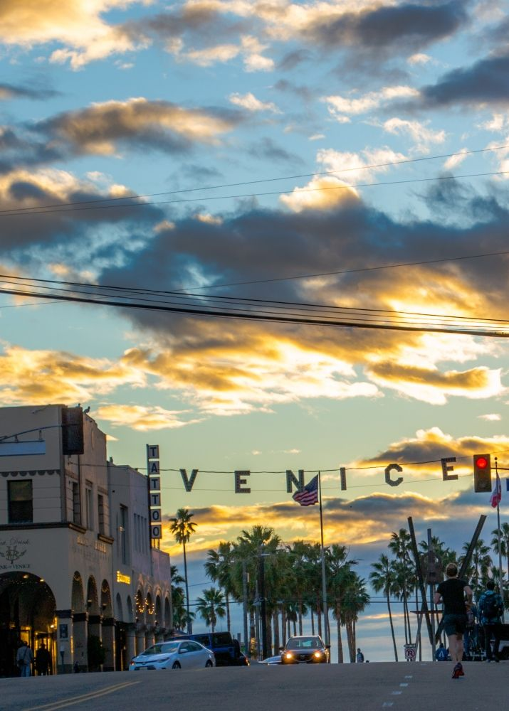 Photo in Street Photography #winter solstice day #los angeles #california #sky #clouds #green #sunset #palms #houses #street