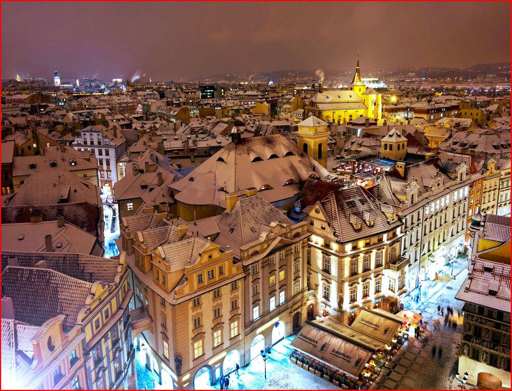 Photo in Random #snow #night #prague #rooftops #czech republic