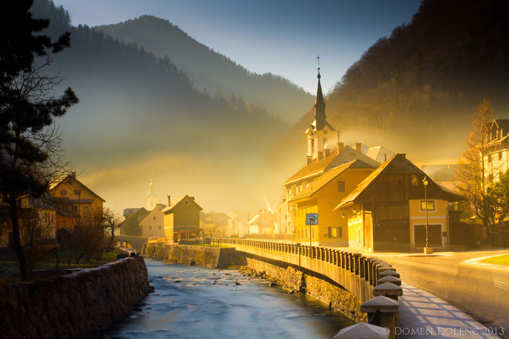 Photo in Cityscape #church #morning #gold #light #sun #river