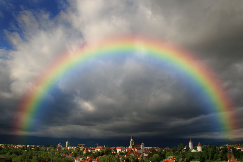 Photo in Landscape #rainbow #kranj #clouds #after #storm #town #church