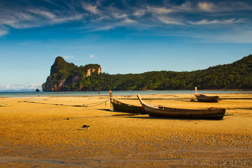 Photo in Landscape #loh #dalum #bay #beach #boat #cat #krabi #ko phi phi #thai #thailand #sand