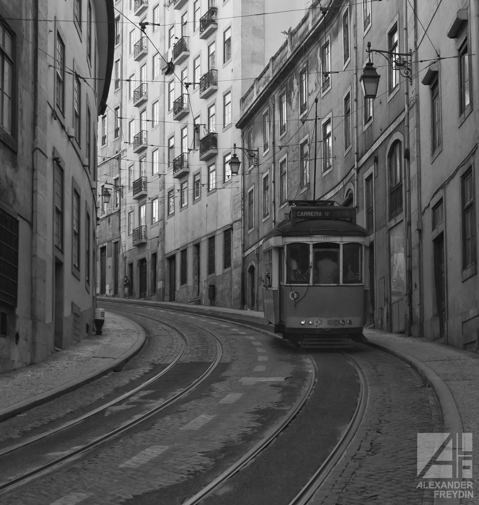 Photo in Random #street #old #road #hill #tram #lisbon #steel #rails