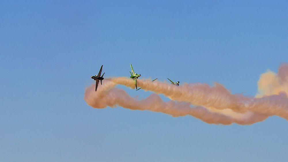Photo in Travel #saudi hawks #aerobatics #al ain #2013 #ag studio