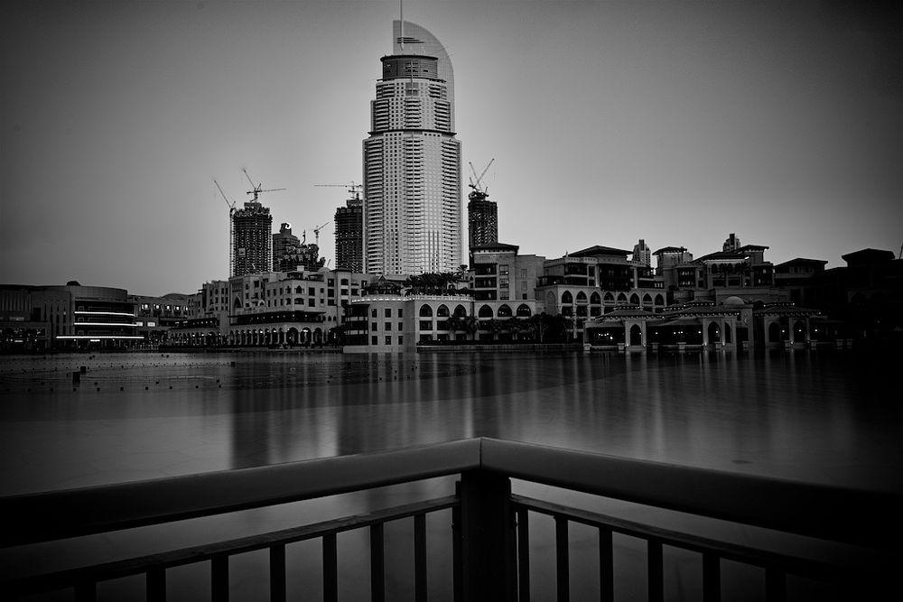 Photo in Black and White #address hotel #dubai #dubai mall #mydubai #awesome #sunset #b&w