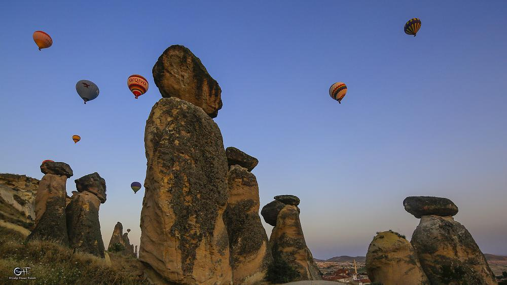 Photo in Landscape #balloons #cappadocia #fairychimneys #nature #cave