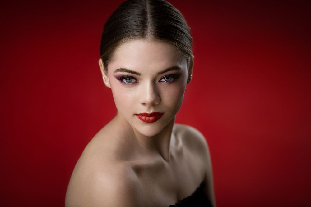 Photo in Random #portrait #headshot #model #girl #woman #young #look #makeup #beauty #beautiful #pretty #cute #glamour #light #studio shot #red #color #fashion #style #editorial #creative #retouching #rafal wegiel