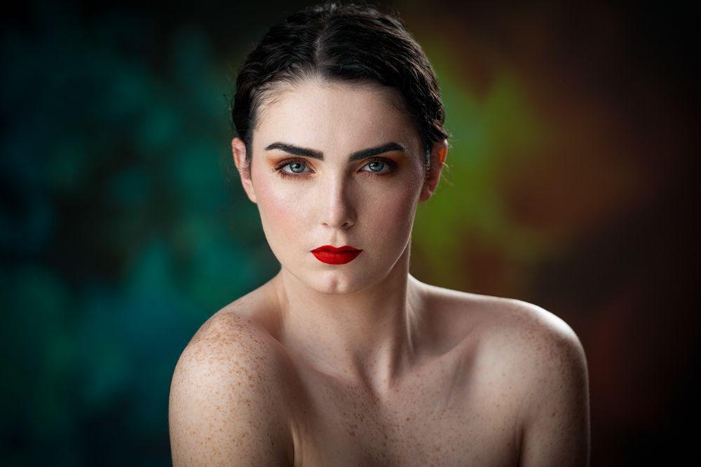 Photo in Random #headshot #portrait #model #girl #woman #female #beauty #beautiful #pretty #cute #glamour #look #makeup #young #light #lighting #bokeh #colors #blue #red #studio shot #style #editorial #creative #retouching #editing #rafal wegiel