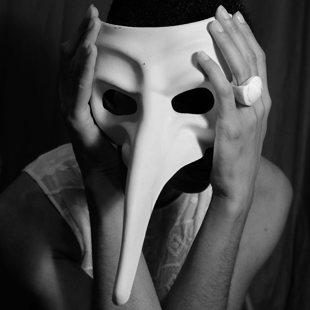 Photo in Black and White #mask #face #hand #arm #shelling #shell #ring #black and white #self portrait #portrait