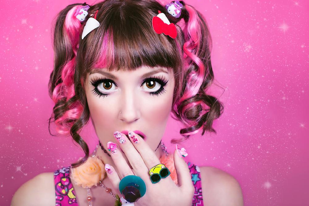 Photo in People #kawaii doll #kawaii #cute #pink #hello kitty #doll #eyes #fashion #pink hair #model #canon #canon 6d
