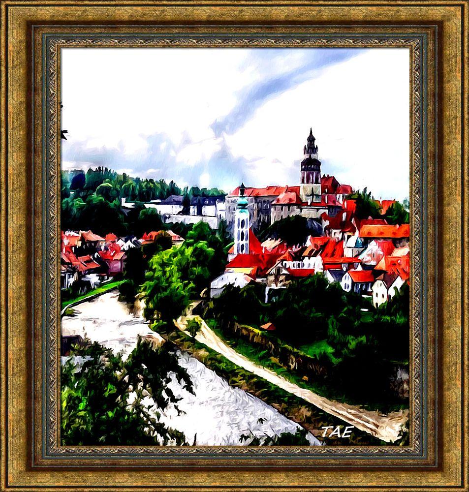 Photo in Random #art #oil #painting #view #town #river #fine #canvas #czech #republik #cesky #bohemia #krumlov