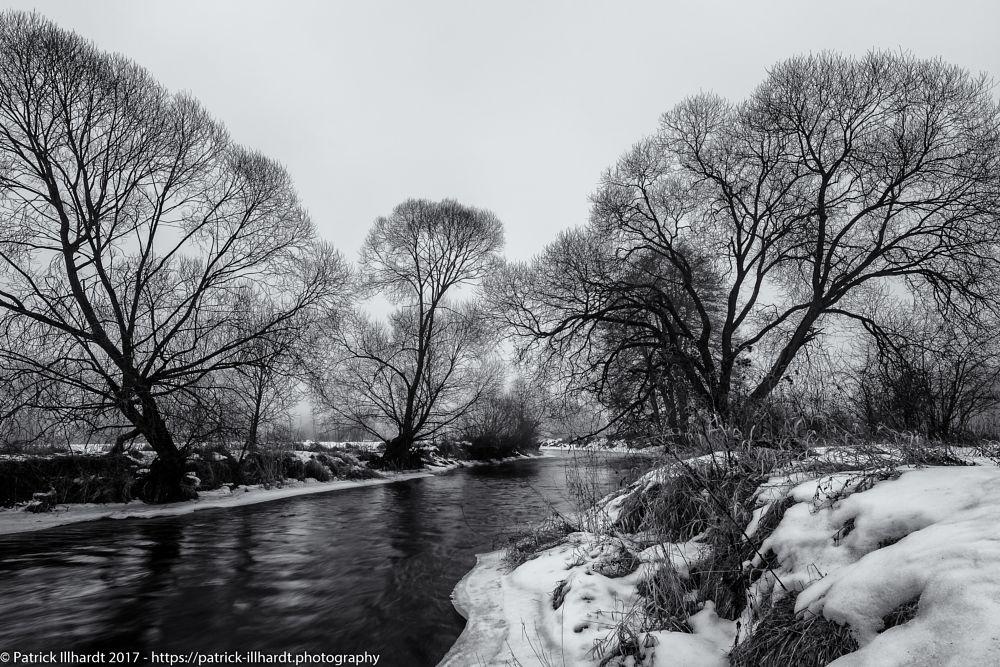 Photo in Landscape #trees #river #snow #landscape #winter #grass #mood #blackandwhite #black #white #waldnaab