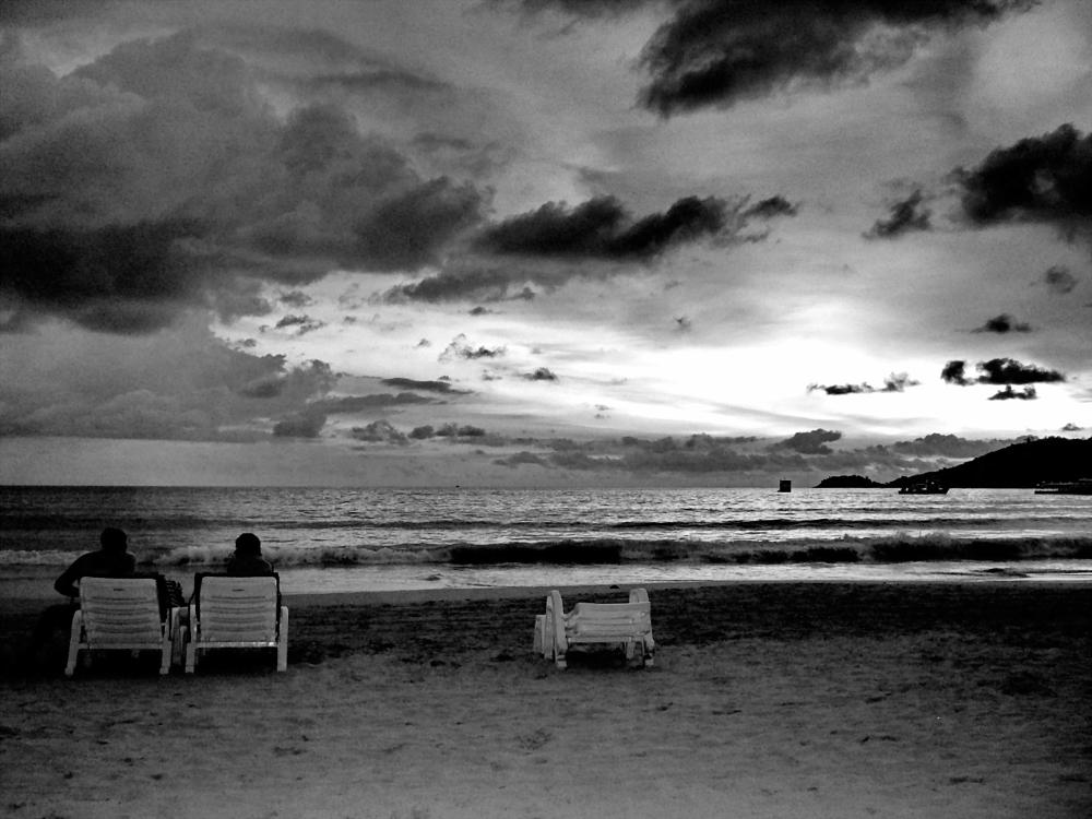 Photo in Black and White #beach people water sunset  #sw bw #strand leute wasser sonnenu
