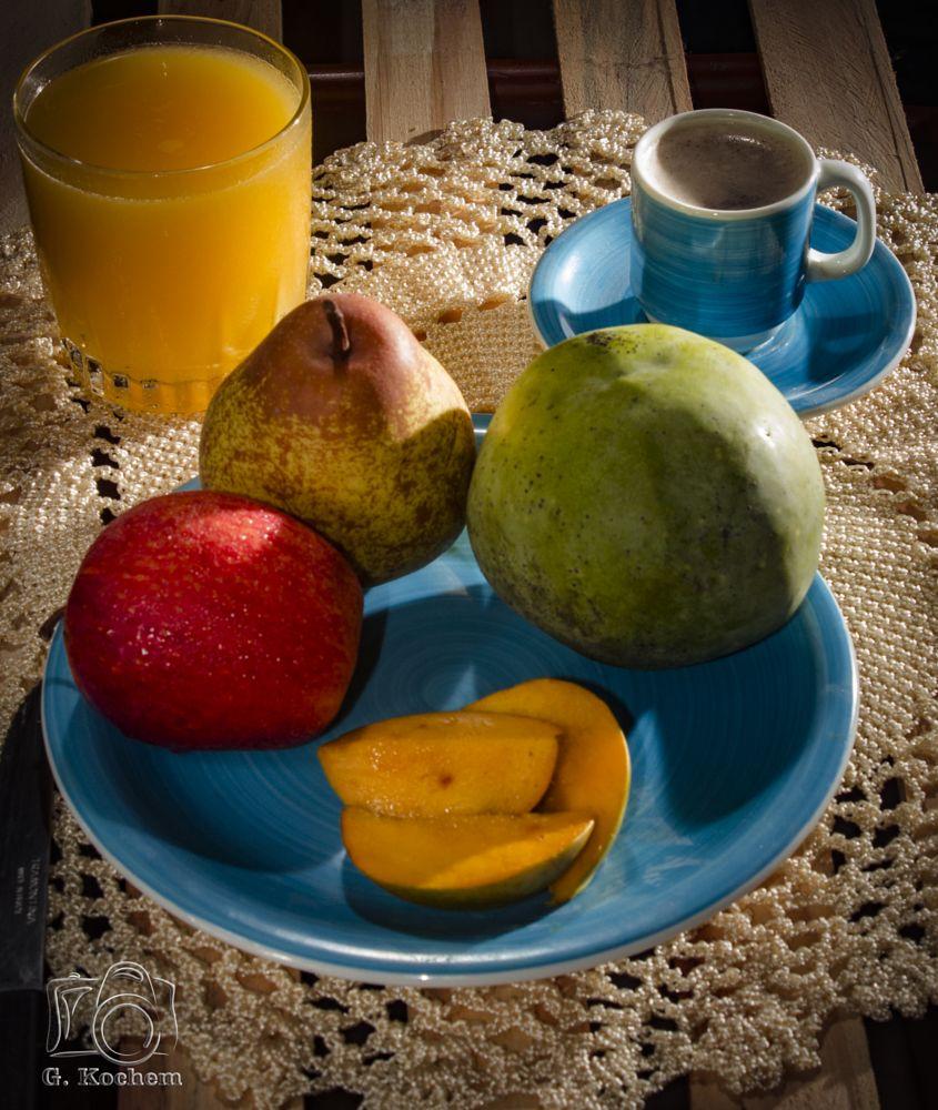 Photo in Food #cafe da manha #maçã #manga #suco de manga #canon t2i