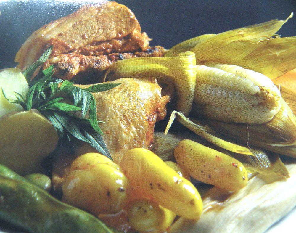Photo in Food #choclo #maiz #papa #pollo #res #puerco #olluco #habas #huacatay