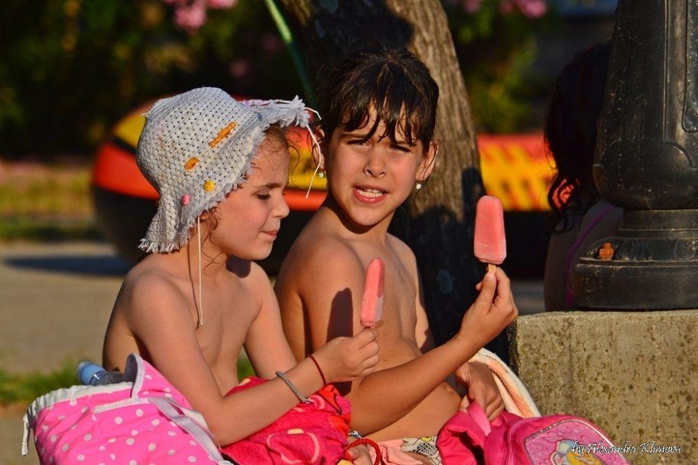 Photo in Nature #ice-cream #girls #ladies #summetime #holidays #sea #sun #beach