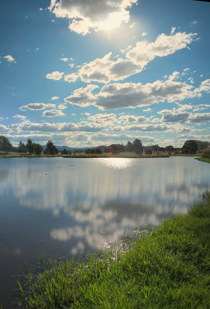 Photo in Landscape #pond #sun #sunlit #cloud #water #reflection #nature