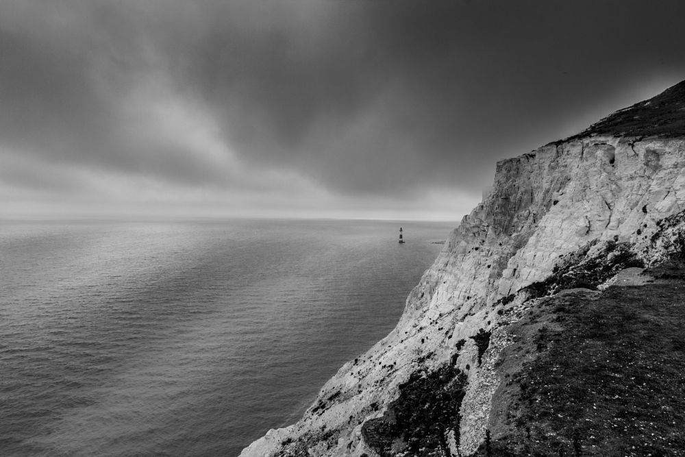 Photo in Black and White #cliff #uk #sea #view #eastbourne