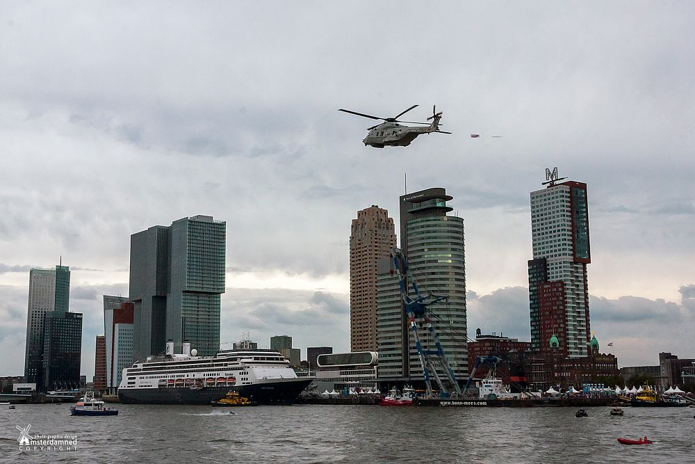 Photo in Cityscape #amsterdamned #rotterdam #harbour #kop van zuid #zuid holland #holland #netherlands #boats #cruise ship #helicopter #wereldhavendagen