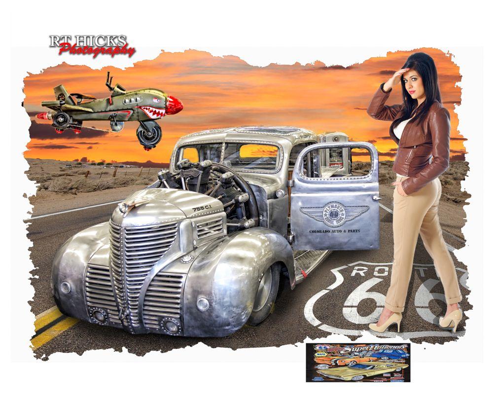 Photo in Random #bomer jacket #rat rod #1941 plymouth pickup #model #pin up #albuquerque #nm #petal car airplane #supernationals