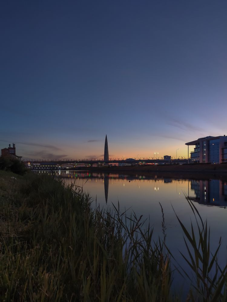 Photo in Cityscape #sunset #night #city #cityscape #water #river