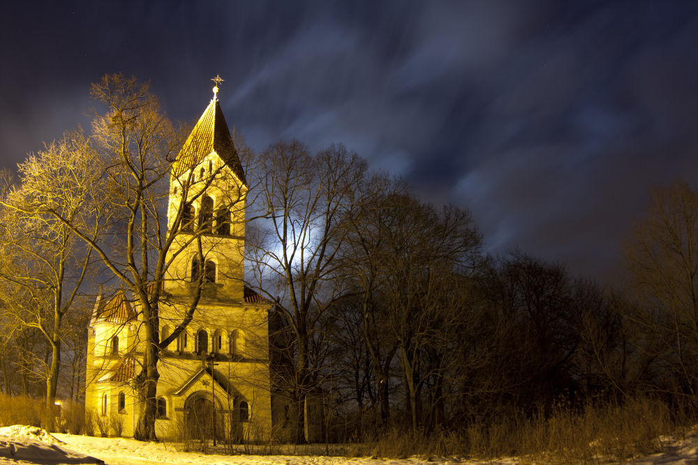 Photo in Architecture #winter #church #night #poland #architecture #wiry