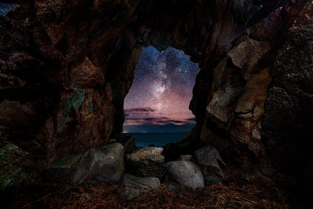 Photo in Landscape #cave #milky #way #stones #rocks