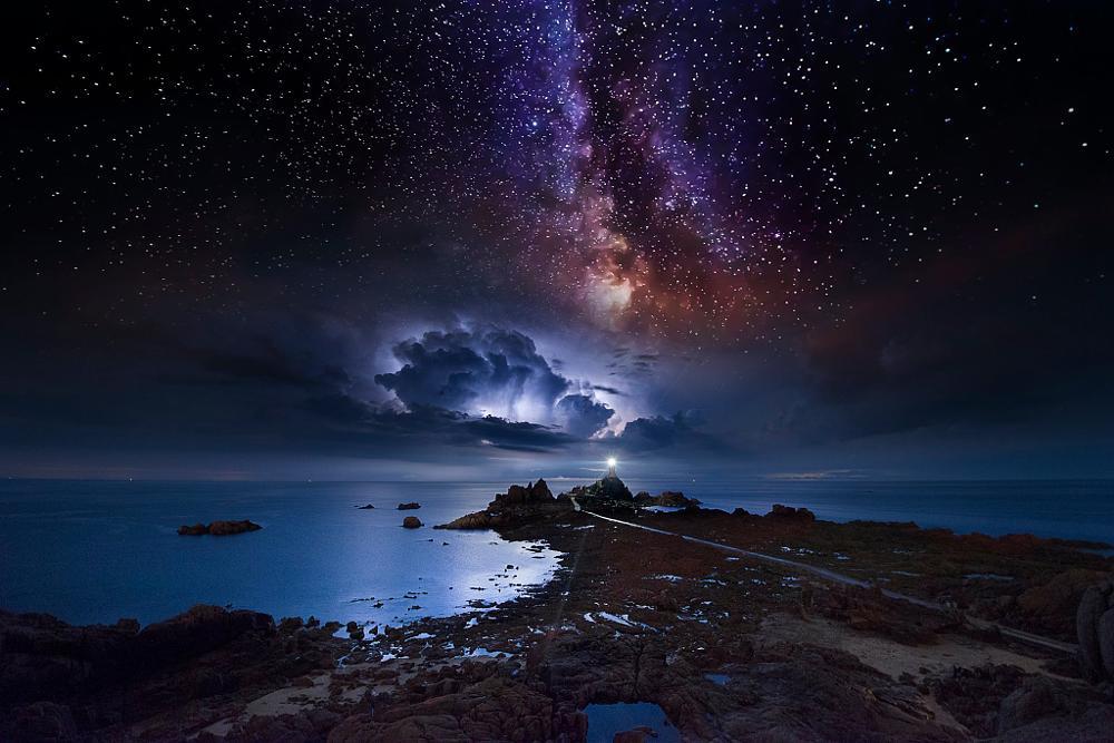Photo in Random #milky #way #storm #space #stars #lightning #clouds #weather #lighthouse #rocks #sea #ocean