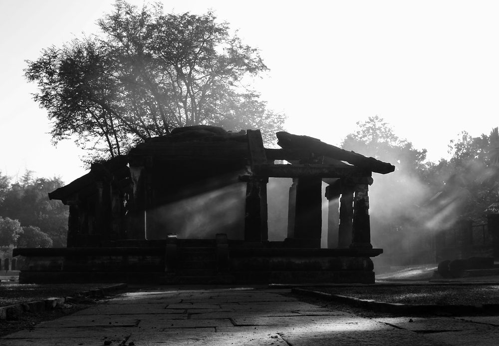 Photo in Random #india #ruins #black&white #old #morning #smoke #sunray #architecture #temple #tradition #photography #stone #black and white