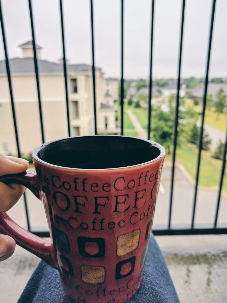 Photo in Food #rain #weather #outside #outdoors #nature #photography #coffee #cup #mug #red #design #pattern #person #balcony #trees #fall