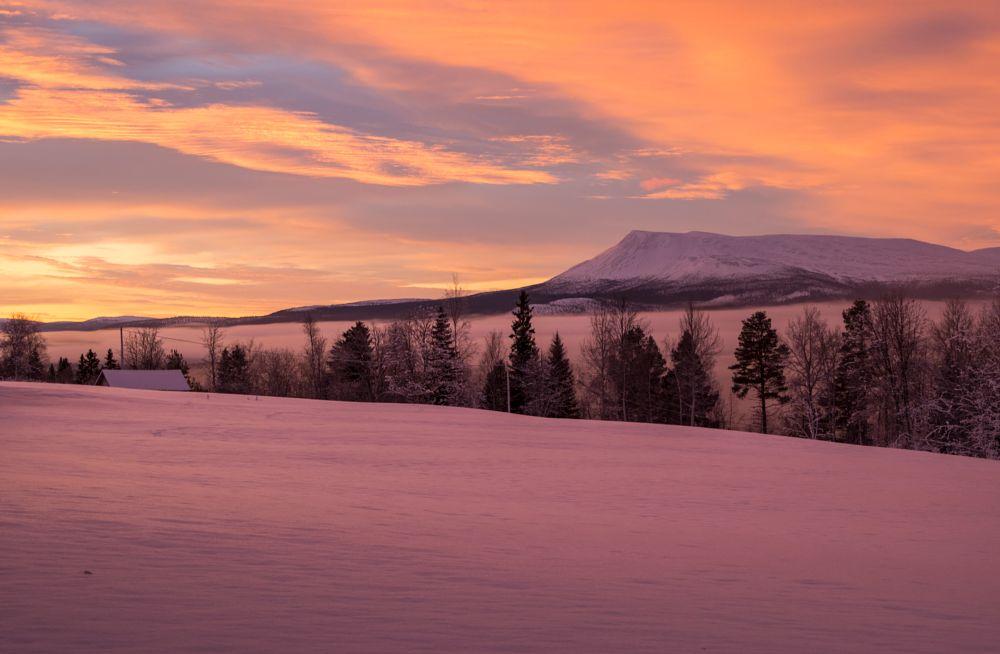 Photo in Nature #light #strange #cloud #mist #mountain #hill #cloudy #sunshine #trees #tree #roof #hede #sweden #jämtland #härjedalen