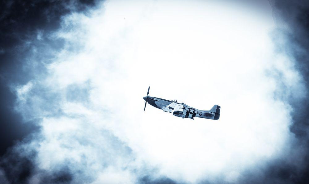 Photo in Vehicle #ww2 #wwii #aircraft #warbird #p51 #mustang #fighter #warplane #airplane #blue #clouds