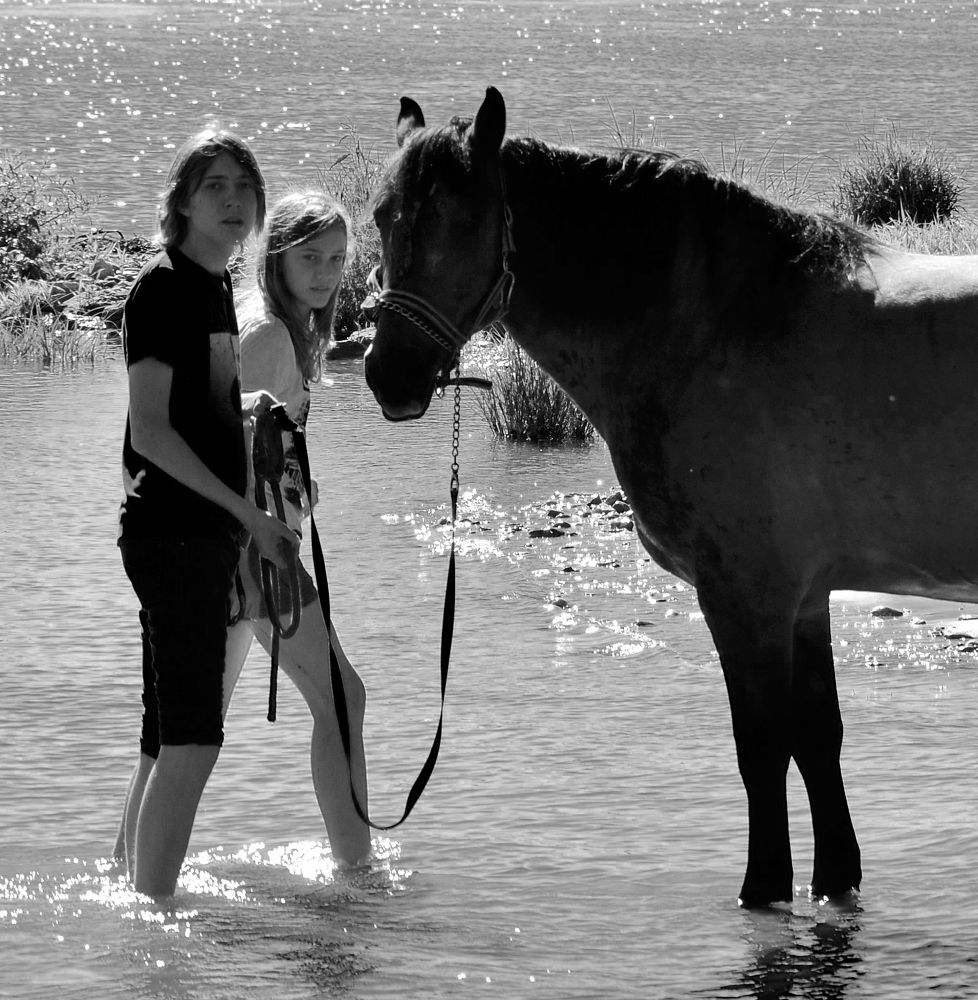 Photo in Black and White #black and white #animal #horse #teen #river #youth