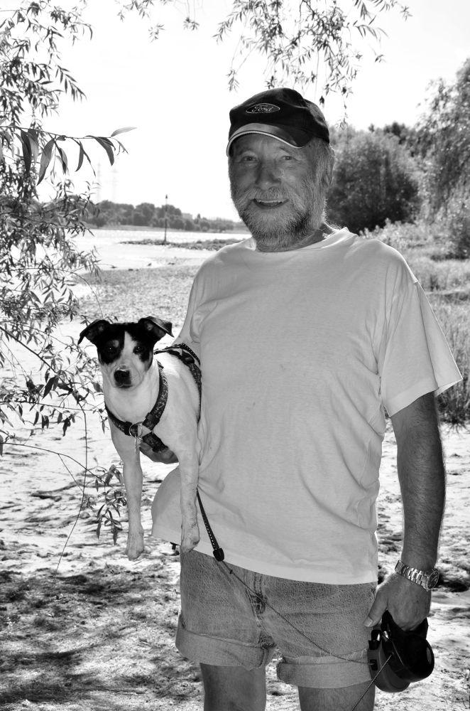Photo in Portrait #dog #man #portrait #black and white #black white
